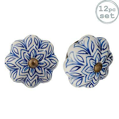 Ceramic Door Knobs Cabinet Drawer Handle Set, Vintage Flower, Dark Blue - X12 • 22.99£
