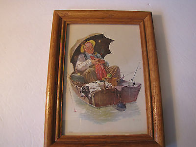 $ CDN43.77 • Buy Norman Rockwell Print 1972,  Golden Days , Framed, Stands, Fisherman, Fishing