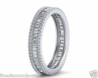 1.10carat Round & Baguette Cut Diamonds Full Eternity Wedding Ring In 18K Gold • 1,093.68£