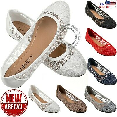 $18.99 • Buy New Womens Cute Lace Crochet Ballet Flat Comfy Slip On Loafers Ballerina Shoes