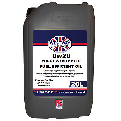20L 0W20 Fully Synthetic Engine Oil 0w/20 - 20 Litres API SN FUEL EFFICIENT • 65.99£