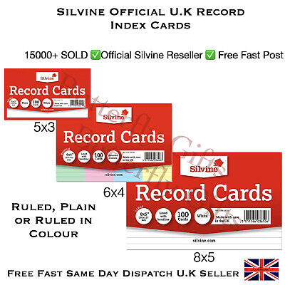 £2.20 • Buy Revision Flash Index Silvine Record Cards White/Plain/Ruled/Coloured Free P+P