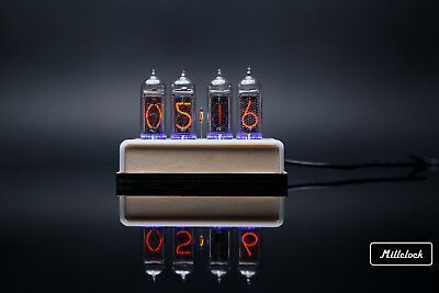 IN-14 NIXIE TUBE CLOCK ASSEMBLED WOOD ENCLOSURE AND ADAPTER 4-tubes By MILLCLOCK • 112.33£