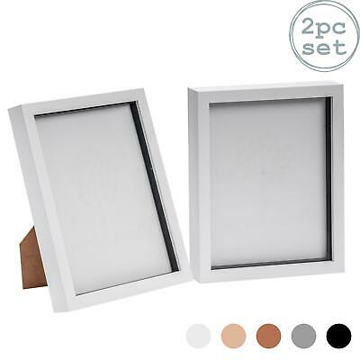 Box Picture Frame Deep 3D Photo Display 8x10 Inch Standing Hanging White X2 • 12.99£