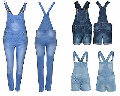 Kids Girl's Denim Jean Dungaree Short & Long Ripped Jumpsuit Playsuits Ages 7-13 • 13.99£