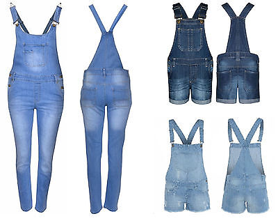 Kids Girl's Denim Jean Dungaree Short & Long Ripped Jumpsuit Playsuits Ages 7-13 • 14.99£