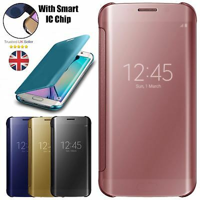 $ CDN8.58 • Buy For SAMSUNG GALAXY S7 S8 S9 S9+ MIRROR FLIP CASE COVER WALLET WITH BUILT IN CHIP
