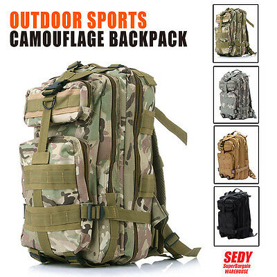 AU23.95 • Buy 30L Hiking Camping Bag Army Military Tactical Trekking Rucksack Backpack Camo