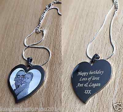 Personalised Engraved Photo & Text Heart Pendant -  Wedding Birthday Gift • 12.99£
