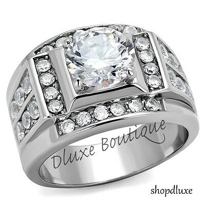 $16.99 • Buy Men's 4.50 Ct Round Cut Simulated Diamond Silver Stainless Steel Ring Size 8-14