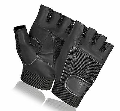 £3.49 • Buy Bus Driving Gloves Leather Weight Lifting Gym Cycling Wheelchair Fingerless New