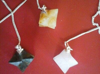 Snow Quartz And Yellow Agate Merkaba Star Pendulum - On Silver Chain • 4.75£