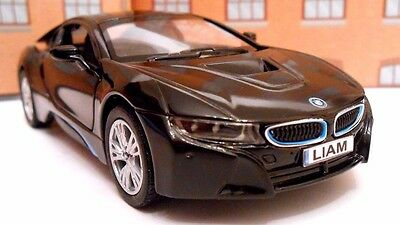BMW I8 ANY NAME PERSONALISED PLATES Toy Car MODEL Boy Girl Dad BIRTHDAY GIFT NEW • 7.95£