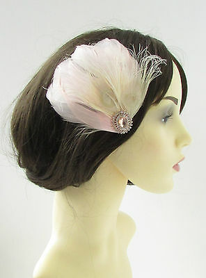 Rose Gold Blush Pink Cream Feather Fascinator Hair Clip Bridal Silver Vtg 9AS • 10.95£