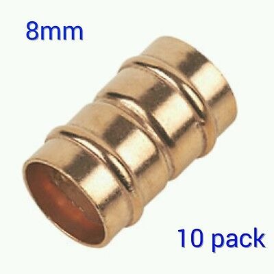 8mm Straight Coupler Solder Ring Copper Pipe Fitting - 10 Pack Yorkshire Type • 5.99£