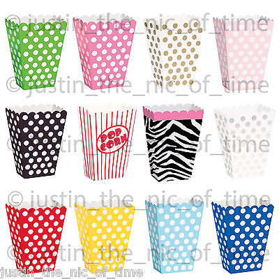 8 Popcorn TREAT BOXES Polka Dots Spots - Birthday Party Favour Loot Paper Bags • 2.35£