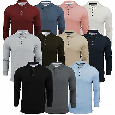 Mens Polo T Shirt Brave Soul Lincoln Long Sleeve Cotton Pique Casual Top • 7.99£
