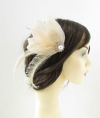 Cream Ivory White Peacock Feather Fascinator Hair Clip Bridal Vintage 1920s 128 • 17.95£