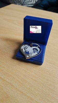 Personalised Photo/Text Engraved Premium Heart Necklace & Pendant  • 12.99£