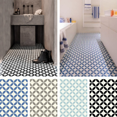 Victorian Tile Effect Sheet Vinyl Flooring Cushioned Lino Kitchen Bathroom Roll • 0.99£
