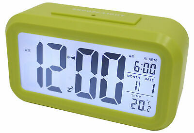 AU16.45 • Buy Light Sensor Alarm Clock W/ Backlit Display Portable Battery Operated Green