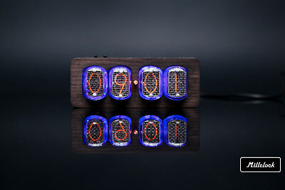 IN-12 NIXIE TUBE CLOCK ASSEMBLED WOOD ENCLOSURE AND ADAPTER 4-tubes By MILLCLOCK • 137.29£