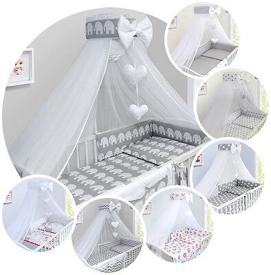 BABY BEDDING SET COT COTBED 3 6 10 14 Pieces PILLOW DUVET COVER BUMPER CANOPY • 18.60£