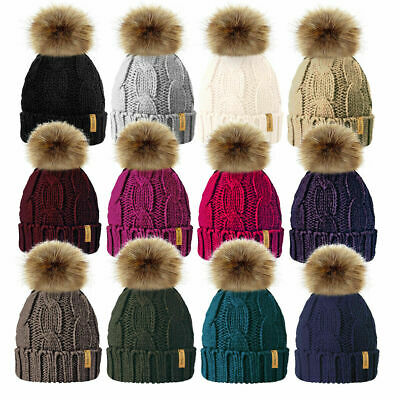 £7.99 • Buy Ladies Chunky Soft Cable Knit Fleece Lined Beanie Bobble Hat Detachable Pom Pom