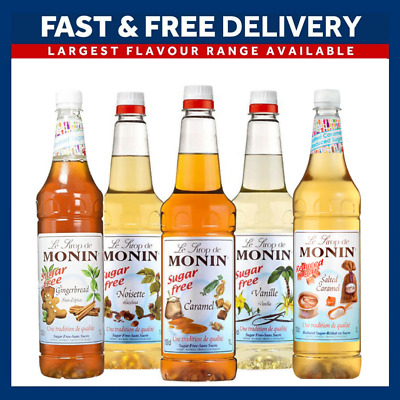 Monin Coffee Syrups SUGAR FREE 1 Litre Bottles - AS USED BY COSTA COFFEE • 11.50£