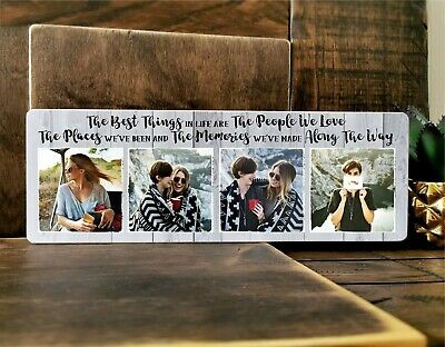£11.99 • Buy 11x4  Personalised Wooden Family Photo Block Plaque Best Friend Baby Memory Dad