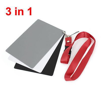 3 In 1 Digital White Black Grey Balance Cards 18% Gray Card With Neck Strap New • 5.06£