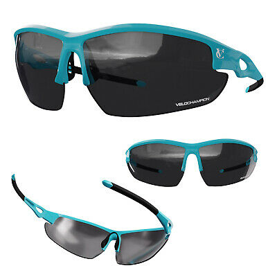 Blue Cycling Sunglasses + 3 Lens Running Sports Men Women VeloChampion Eyewear • 12.95£