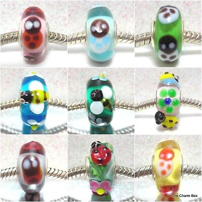 'BEES & LADYBIRDS' 1 X Murano Glass Animal/Insect/Flowers European Charm Bead • 3.50£