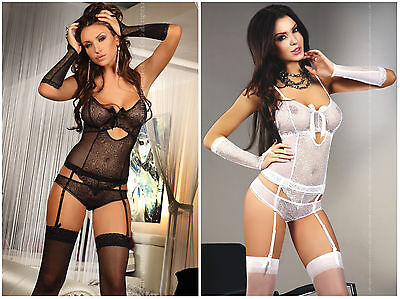 £23.99 • Buy LIVCO CORSETTI Orna Luxury Basque, Gloves And Matching Brief Set - 2 Colours