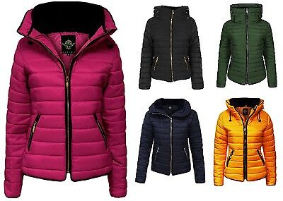 Ladies Quilted Padded Hooded Gold Zip Bubble Fur Collar Warm Thick Jacket Coat  • 19.99£