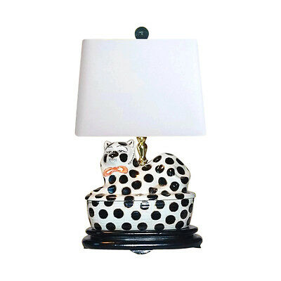$ CDN193.58 • Buy Beautiful Chinese Porcelain Spotted Cat Figurine Table Lamp 18