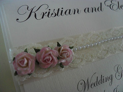 Personalised Ivory Wedding Guest Book. Vintage Lace & Rose Design Any Colour • 13.50£