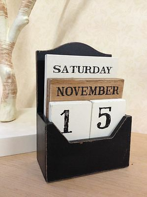 Vintage Wooden Block Perpetual Calendar Retro Chic Rustic Any Year / Month / Day • 50.70£