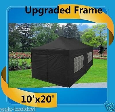 $329.99 • Buy 10'x20' Pop Up Canopy Party Tent EZ - Black - F Model Upgraded Frame