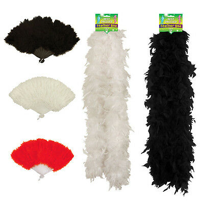 Show Girl Feather Fan Boa 150 Cm Red White Black Burlesque Hen Party Fancy Dress • 2.99£