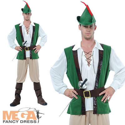 Robin Hood + Hat Mens Fancy Dress Medieval Book Week Adults Costume Outfit New • 23.99£