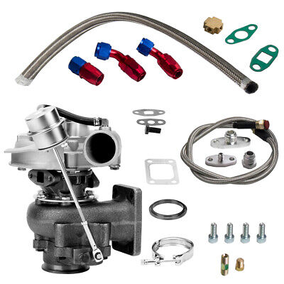 AU250.60 • Buy T3 T4 Turbo .63 A/R Oil Hybrid V Band Universal Turbo + Oil Line Kit 420BHP