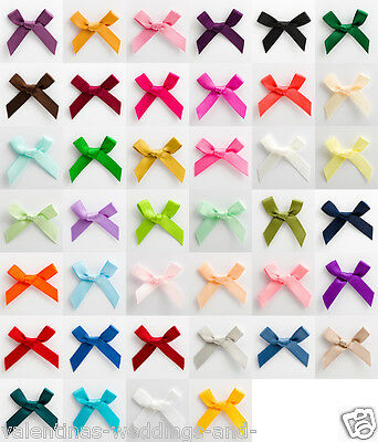 Small 3cm Pre Tied Satin Mini Bows - Pack Of 1, 10, 25 Or 100 - 6mm Ribbon • 0.99£