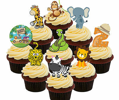 £4.99 • Buy 2nd Birthday Jungle Zoo Animals Edible Cup Cake Toppers 36 Fairy Decorations Kid