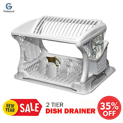 Two 2 Tier Large Plastic Dish Drainer Utensils Cutlery Kitchen Rack Tray White • 12.96£