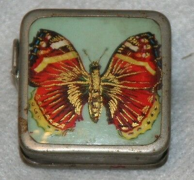 Rare SQUARE ANTIQUE ~~BUTTERFLY~~SILVER TAPE MEASURE,NOVELTY,FIGURAL,MEASURING • 73.14£