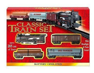 Classic Train Set Toy With Tracks Light Engine Battery Operated For Kid Children • 7.29£