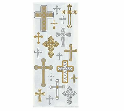 £2.30 • Buy 20 Cross Religious Cello Bags Gold Christening Holy Communion Baptism Party Gift