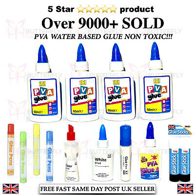 PVA Glue Bottles Washable Safe Glue Ideal School Craft Home Office NON Toxic • 2.69£