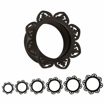 AU6.10 • Buy BLACK FLORAL Double Flared Steel Ear Flesh Tunnels Piercing Jewellery TU98